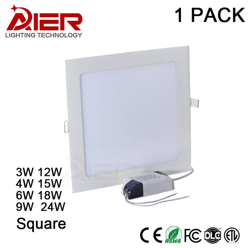 Square LED panel downlight 3W 4W 6W 9W 12W 15W 18W 24W Ceiling Recessed Slim Ultra Thin Design LED Panel Light for Indoor 2017