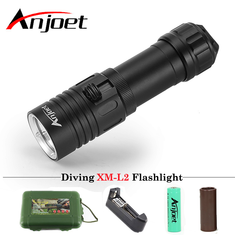 Anjoet Diving Flashlight XM-L2 1 mode lamp IPX8 Scuba lantern led Underwater Dive torch 18650 or 26650 rechargeable battery