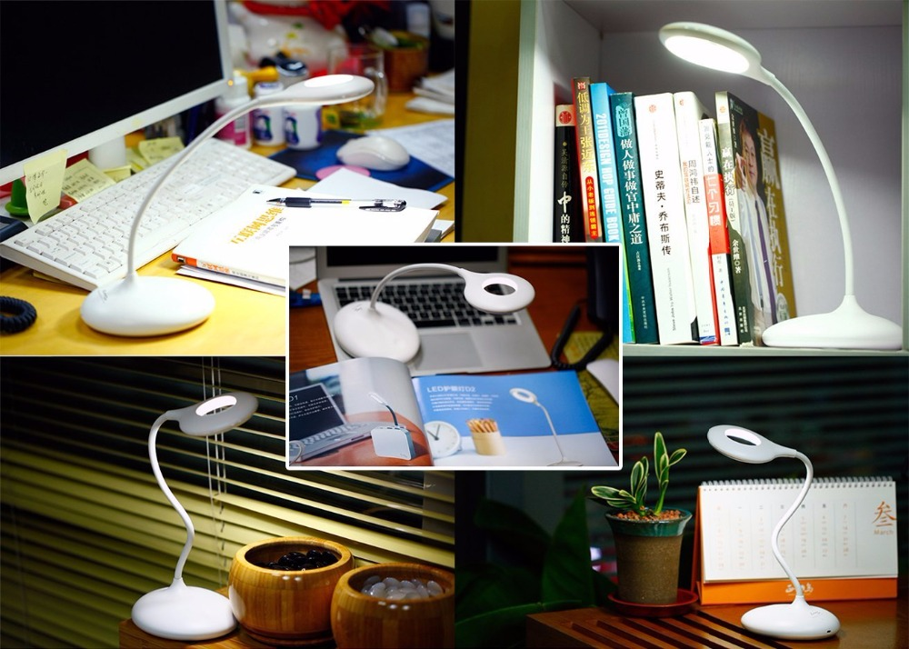 Aimbinet LED Desk Lamp, Gooseneck Table Lamp 3W, Touch Control, Stepless Dimmable, USB Charging Port (White) Best Gift for Kids