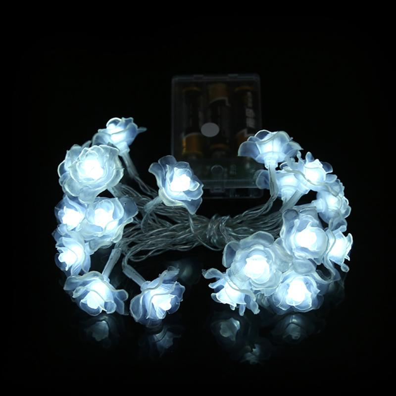 Rose LED String Light for Wedding Party 20 LED Christmas Holiday Garden Decoration Lighting Battery Power Lamp