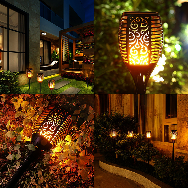 4PCS Waterproof 96 LED Solar Torch Lights Dancing Flickering Flame Garden Lamps