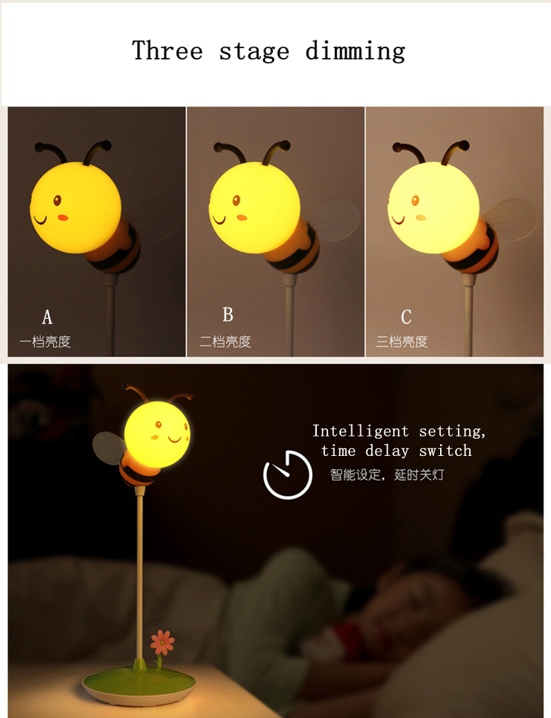 Jiaderui Led Night Lamps USB Charging Timing Touch Dimmable Creative Cartoon Bee Desk Lamp Children Bedside Night Lighting Lamps