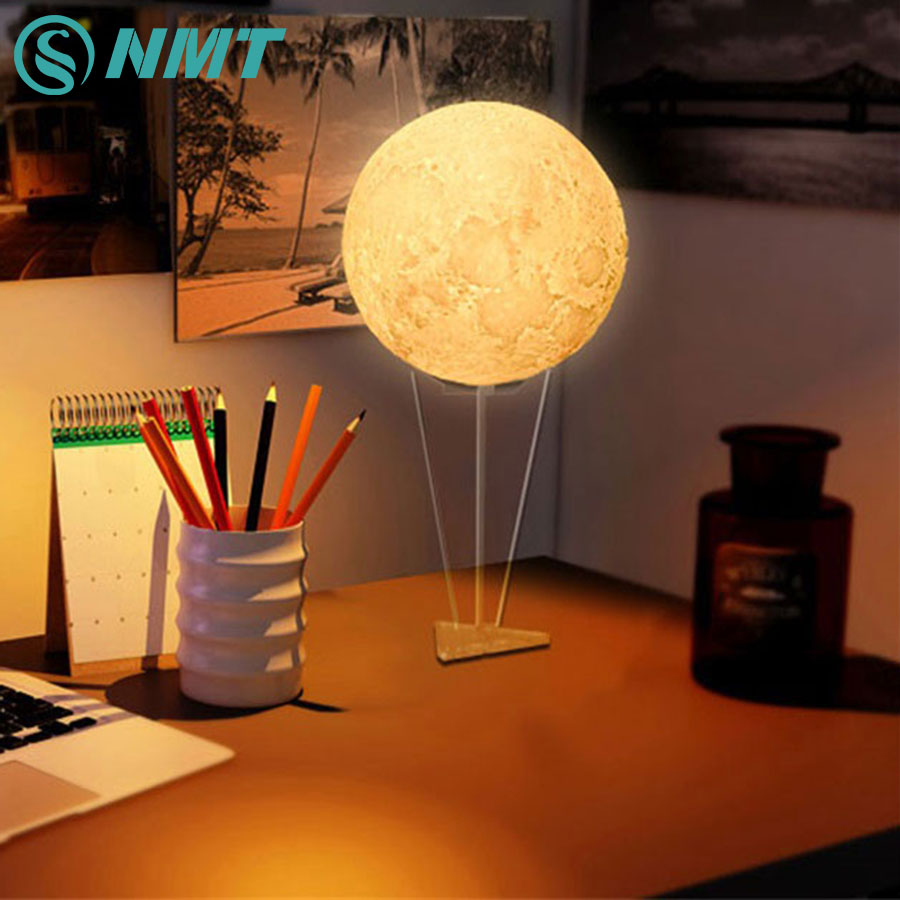 Creative RGB 3D Print LED Moon Night Light Touch Switch Bedroom Night Lamp Novelty Light for Home Decor Christmas Gift