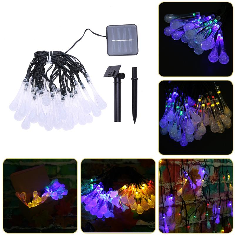 30 LED Solar Power Water Drop String Light Garden Patio Yard Landscape Lamp