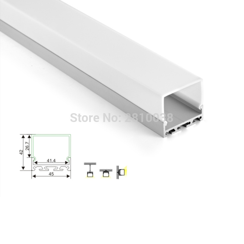 50 X1 M Sets/Lot factory supplier aluminium led profile and square recessed profile channel for ceiling or wall light