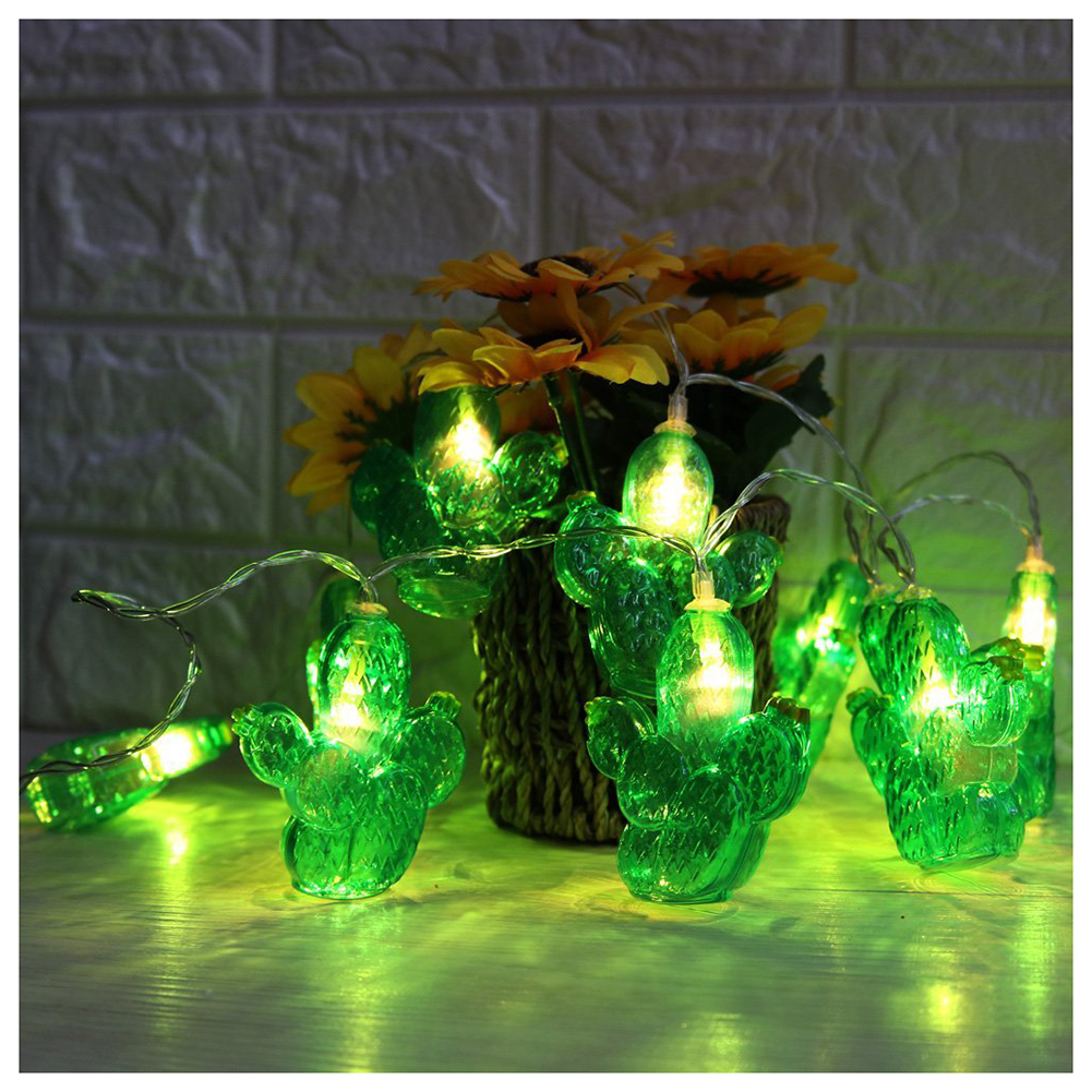 Cactus LED String Light Warm White 10 Leds Fairy Light Holiday Light for Party Christmas Wedding Decoration Battery Operated
