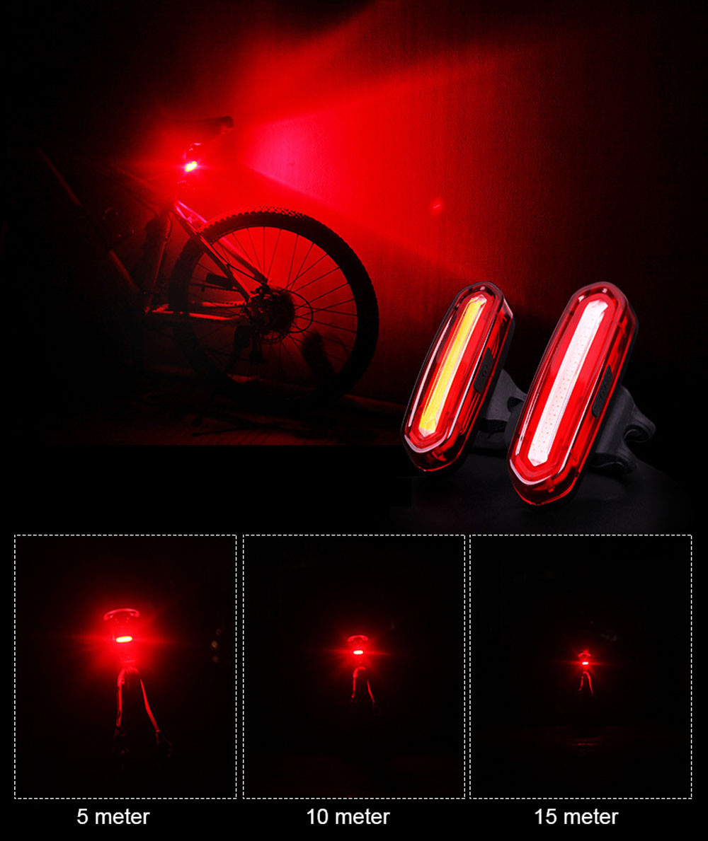 WOSAWE USB Rechargeable Bicycle Lights Mount Gel Bright 600mAH Battery MTB Cycling Warning 3 Colors Taillight Bike Accessories