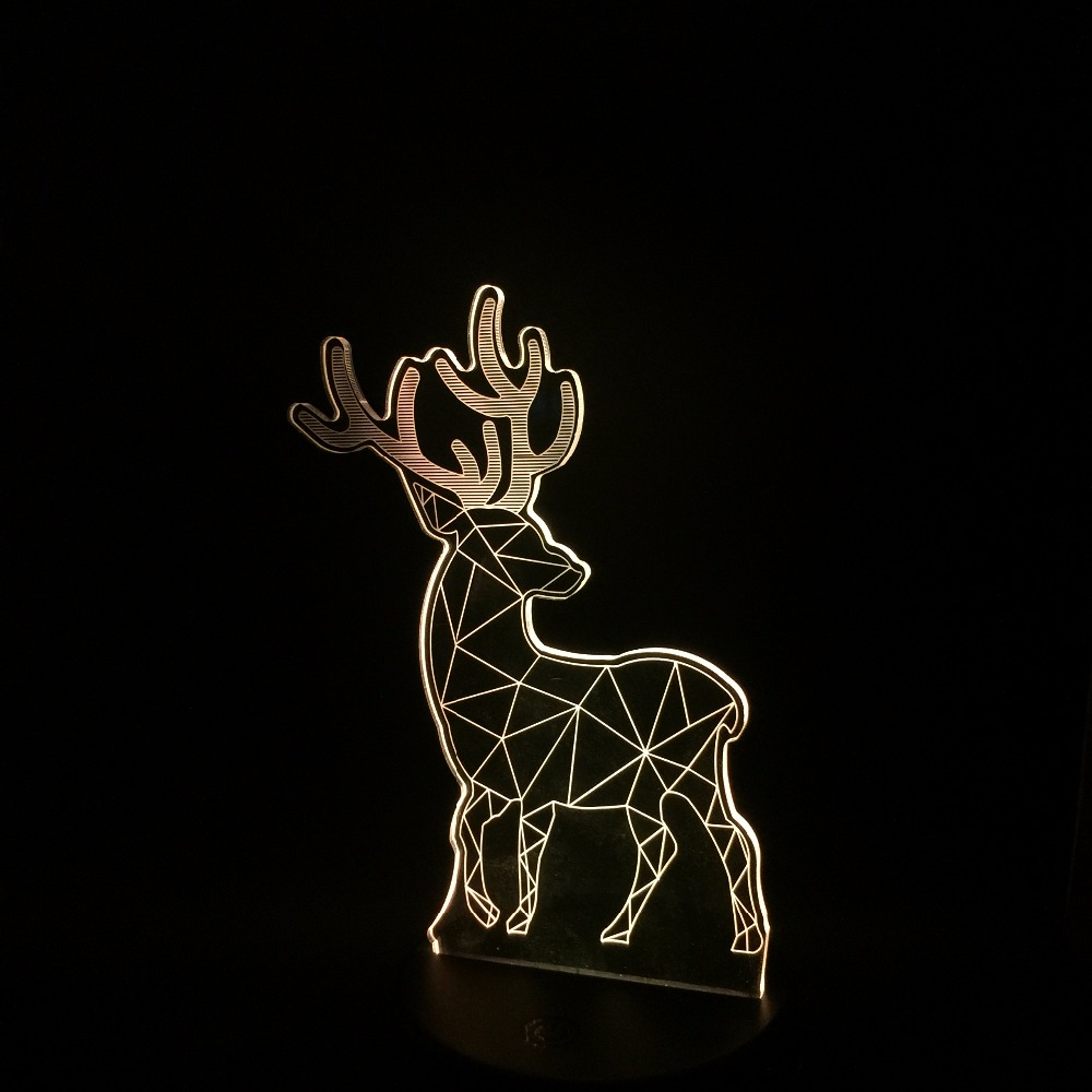 Box day Kid baby gift 3D Christmas Deer lava lampara Bedroom Office Home Desk Table Decor Lamp Night Light Holiday Party