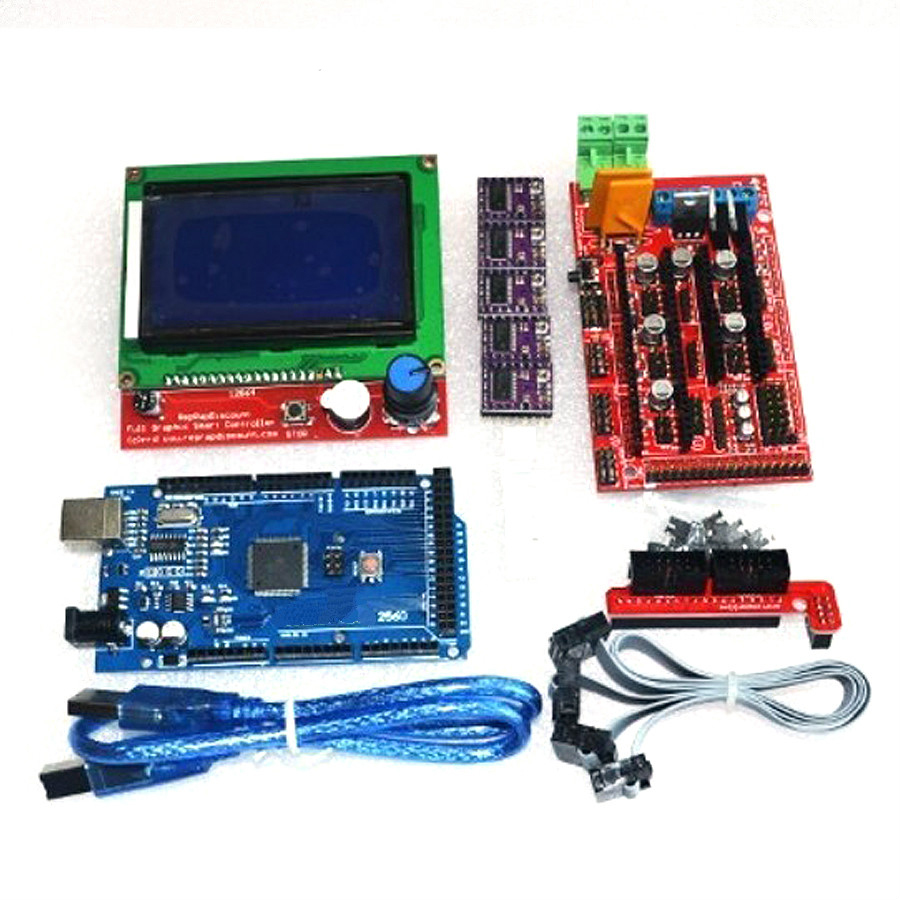 2018 3D Printer kit 1pcs Mega 2560 R3+1pcsRAMPS 1.4 Controller+5pcsDRV8825 Stepper Motor Drive+1pcs LCD12864 controller