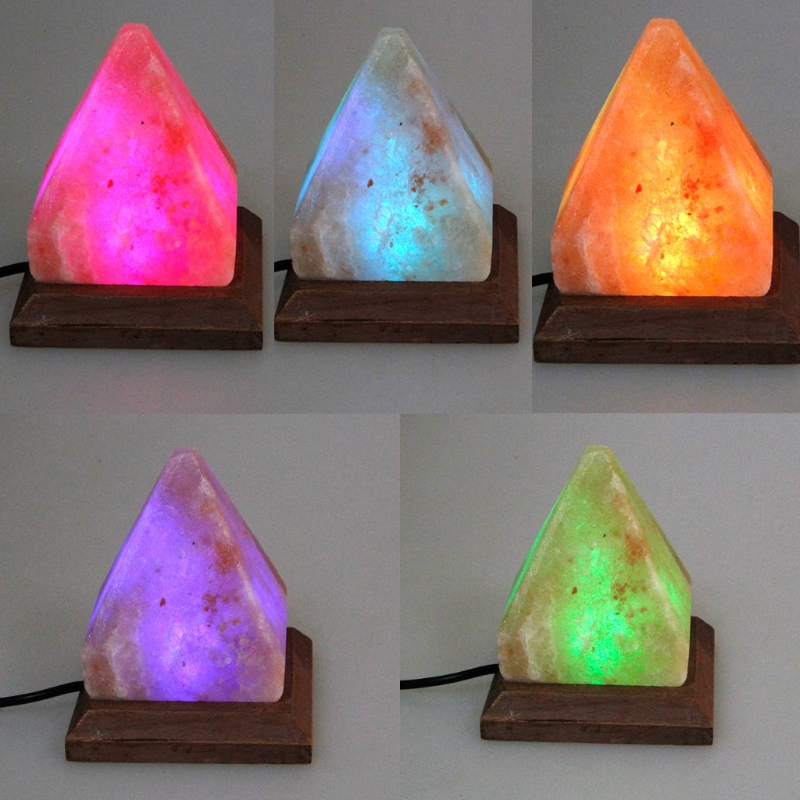 Triangle Hand Carved USB Wooden Base Himalayan Crystal Rock Salt Lamp Air Purifier Night Light