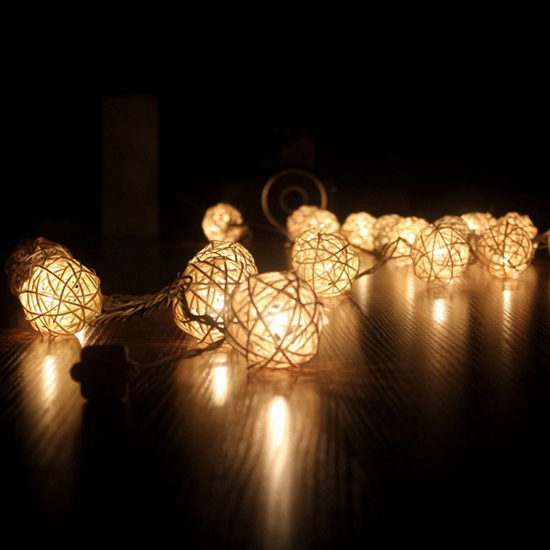 4.5m 20 3cm Wicker Rattan Ball Socket String Light Christmas Lamp Party 8 Mode L15