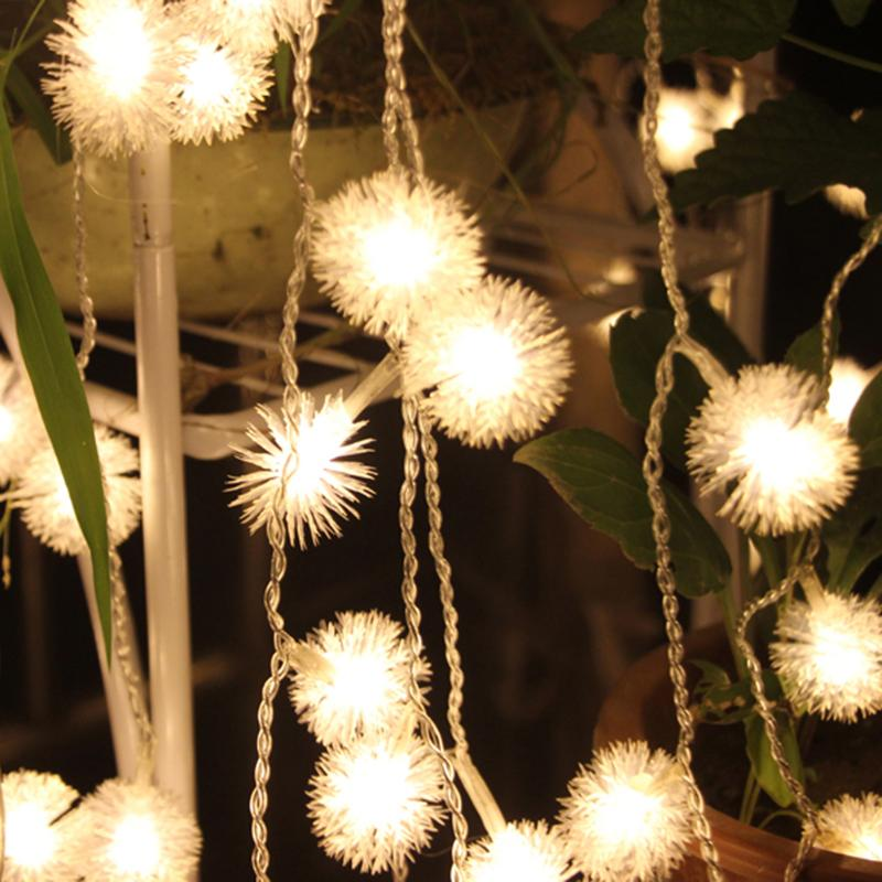2.2M 20 LEDS Christmas Hair ball String Lights Battery Box holiday Lamp Party Decoration Curtain String Light