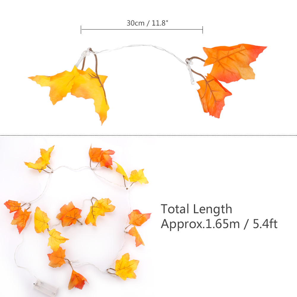 Konesky Colth Maple Leaves Fairy Light Mixed Color Orange Yellow Leaf Autumn String Light 10LED Fall Decoration Battery Operated