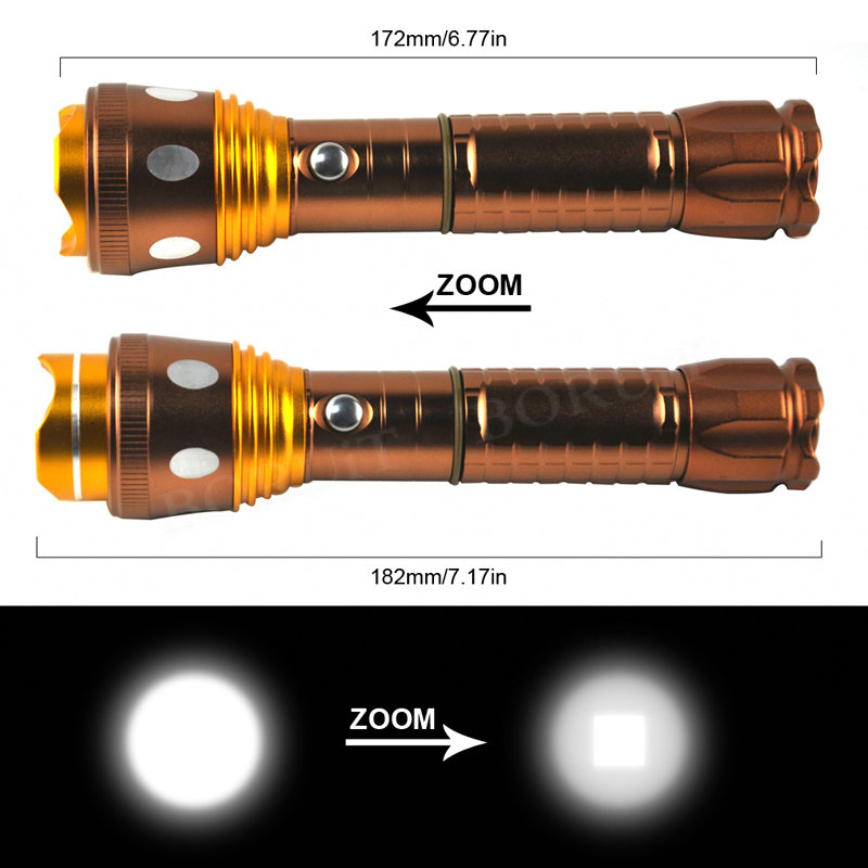Boruit 1000Lm 4-Mode LED Zoomable Flashlight Torch Rechargeable Portable Camping Hunting Flash Lights Night Fishing Lantern Lamp