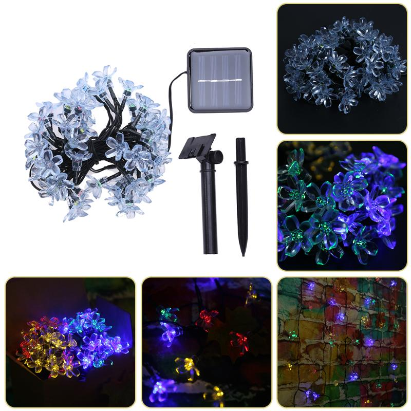 50 LED Peach Shape Light String Solar Fairy String Lights Outdoor Colorful Party Holiday lights Christmas Tree Decoration