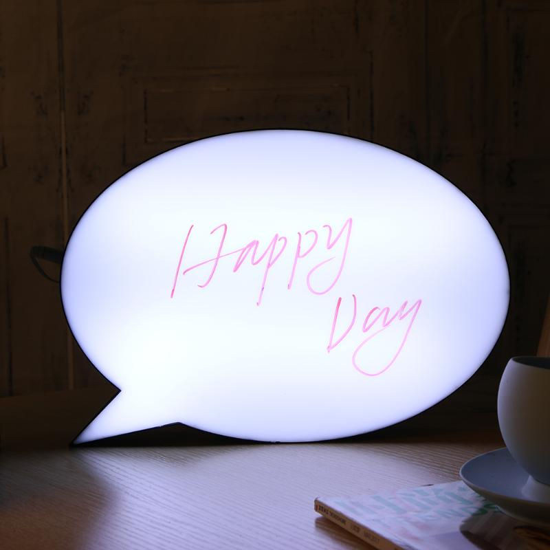 USB Rechargeable Acrylic LED Handwriting Lightbox Night Light DIY LED Message 3D Night Lamp Letter Light Box Speech Bubble Shape