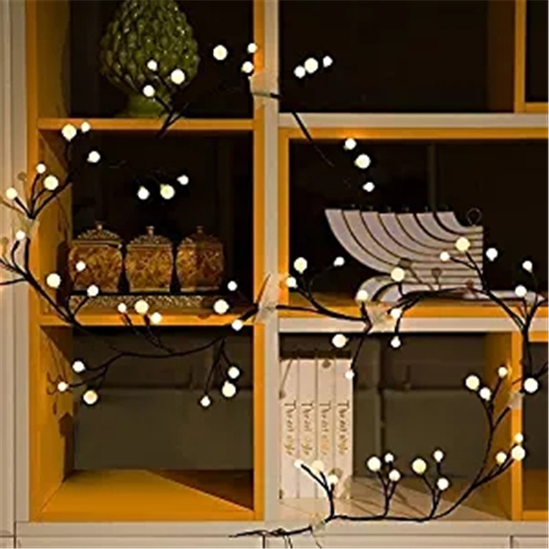 2.5M LED String Light Warm White Rattan Global String Fairy Light For Christmas Party LED Holiday Light US UK EU Plug DC24V