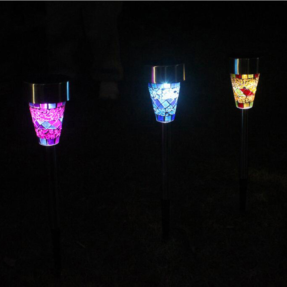 1Pc Outdoor Solar Powered LED Lawn Garden Light Rechargeable Lawn Path LED Glass Mosaic Lights Blue,Orange,Purple Lawn Lamps