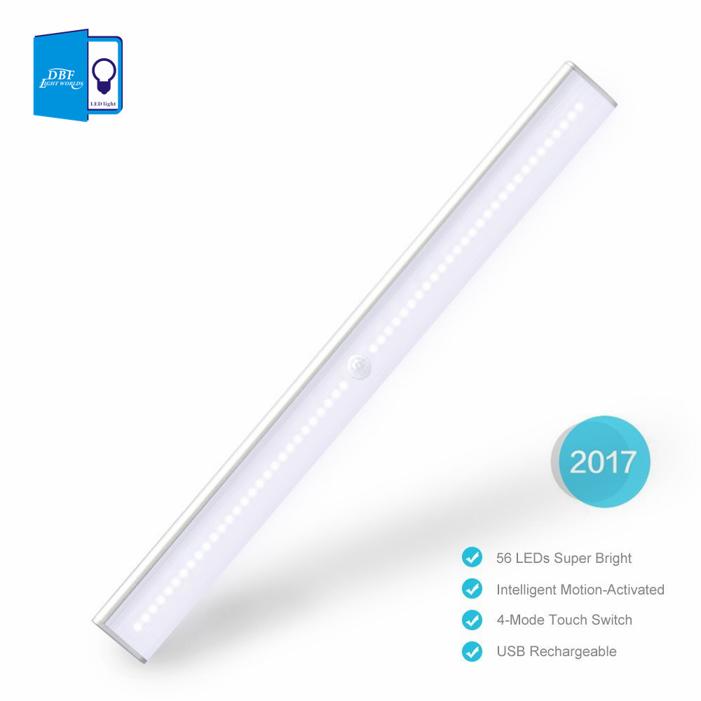 56LEDs Rechargeable PIR Motion Sensor LED Night Light Lamp For Hallway Pathway Staircase Magnetic Strip light LED Wall light