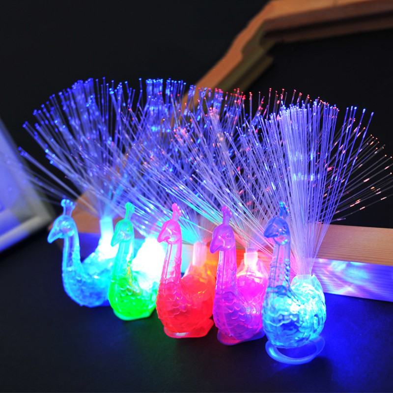 LumiParty Luminous Toy Colorful Peacock Optical Fiber Led Lamp Flash Finger Night Lights for Kids Gifts jk25