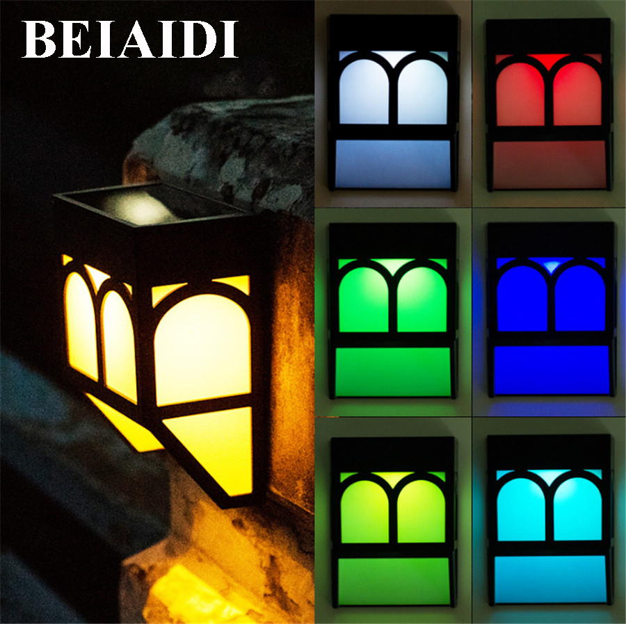 BEIAIDI 4PCS Upgrade Outdoor Lantern Solar Wall Light RGBW RGBWW Landscape Fence Garden Porch Light Solar Pathway Wall Lamps
