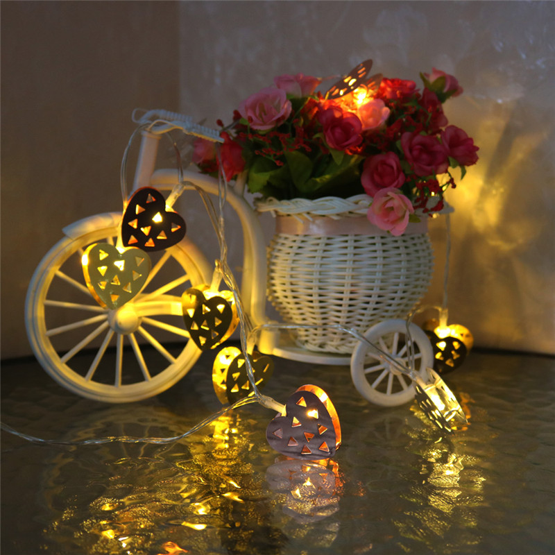 10 LED 1.65M Metal Heart Shape LED Fairy String Lights Warm White Holiday Lighting For Christmas Wedding Party Decoration