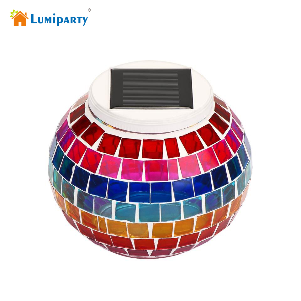 Lumiparty Waterproof Glass Ball LED RGB Solar Garden Lights for Landscape Lawn Holiday Christmas Party Decoration Outdoor Light