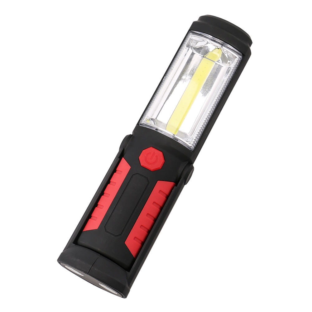 Powerful Portable COB LED Flashlight Magnetic Work Light 360 Degree Stand Hanging Torch Lamp For Work Camping Use 3*AA Battery