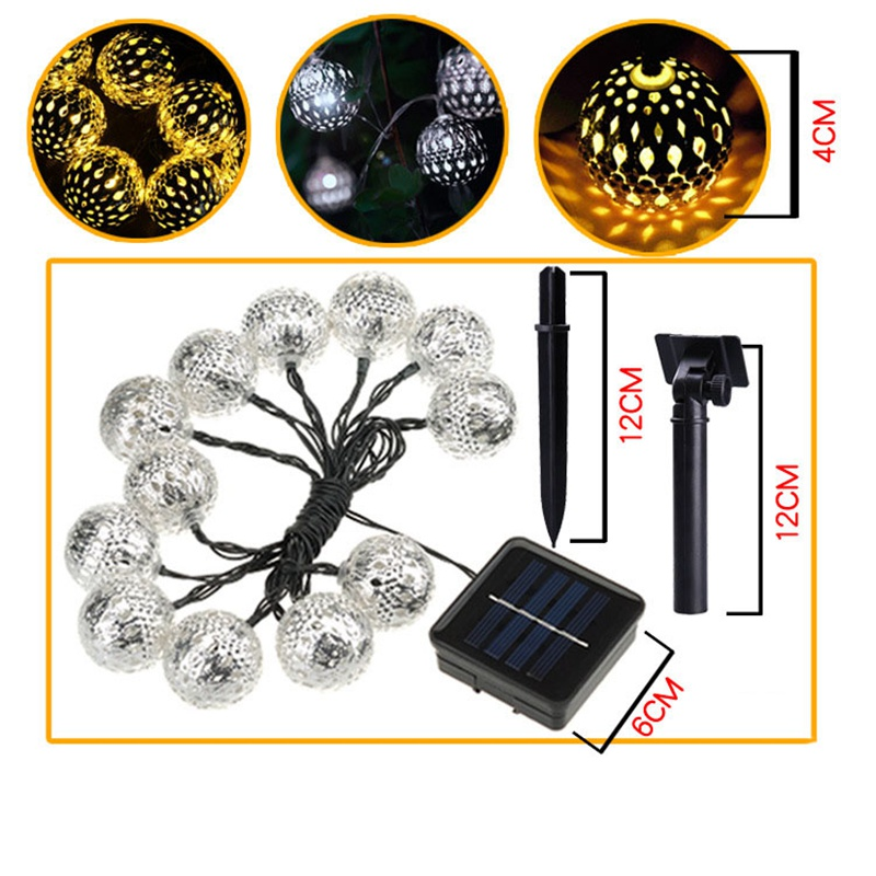 20 LED String Light Waterproof 4.8M Solar Panel LED Fairy Light Ball Holiday Light Lamp Garden Party Wedding Decoration