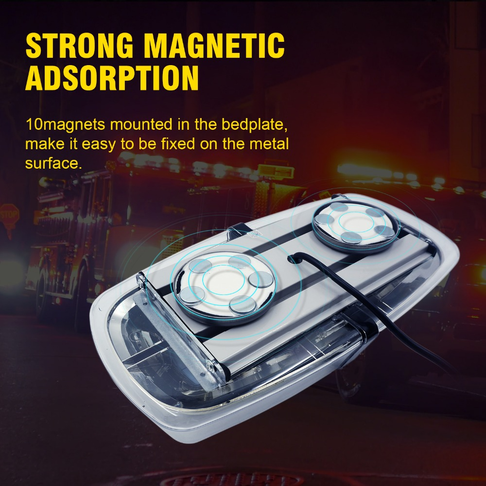 WEISIJI 1PCS 36W 72LED 5730 SMD LED Strobe Light 12-24V LED warning Light with Magnetic Base Strobe Light 9 Patterns Work Light