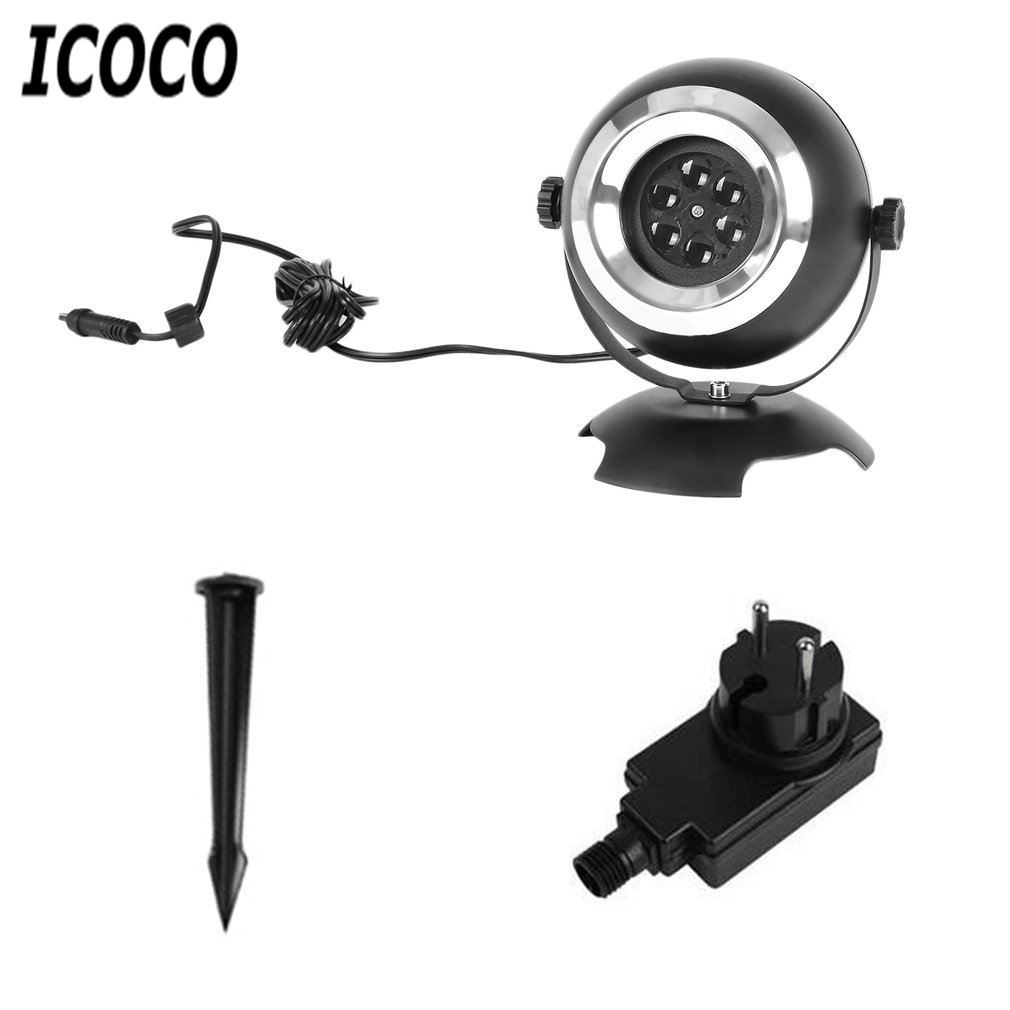 ICOCO LED Lawn Lamp Dynamic Snowflake Film Projector Light for Festival Christmas Holloween Party Garden Outdoor Decor EU Plug