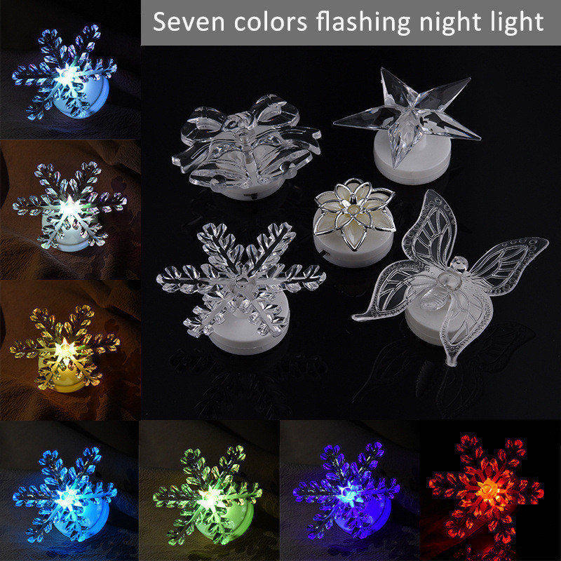 Huanjunshi Acrylic Colour Led Night Light Erfly Snowflake Star Flower Christmas Lamp With Built In