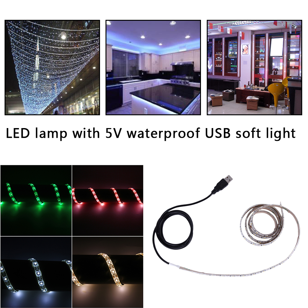 Ultra-Bright 1M SMD 3528 Waterproof 60 LED Flexible Tape USB Strip Light Valentines Wedding christmas garland Decoration