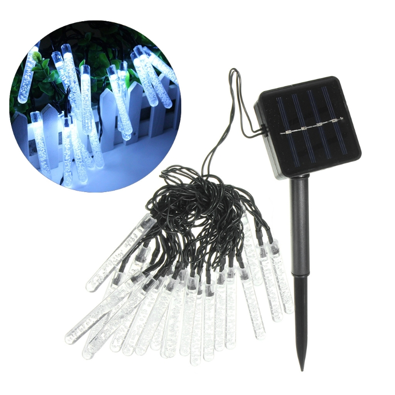 YAM 20 LED 3.2m Solar Ice Piton Fairy String Light Lamp Wedding Xmas Party Decor Outdoor 8 Light Modes Power ON/OFF & Mode