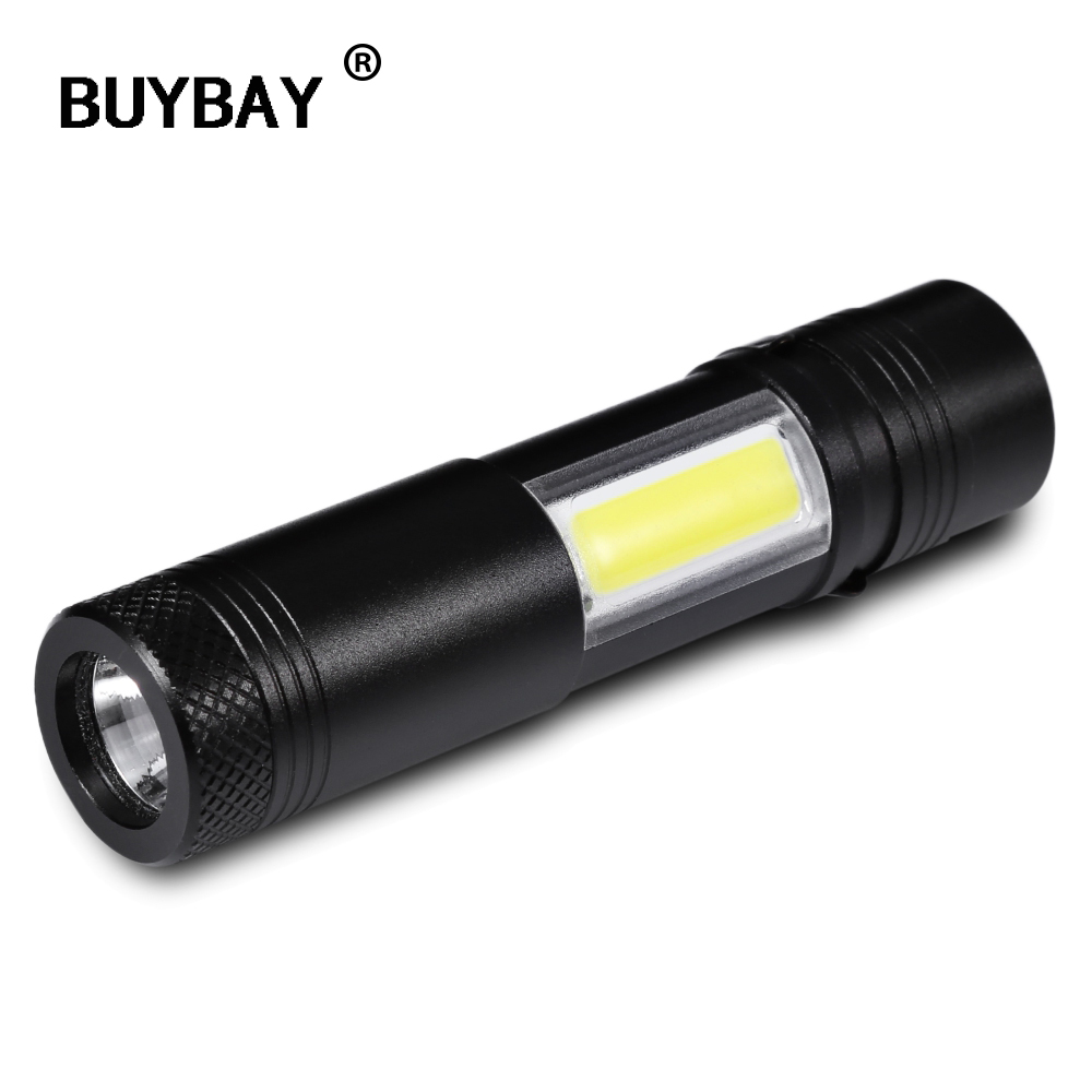 BUYBAY New Mini Portable Aluminum Q5 LED Flashlight Torch COB Work Light lanterna Powerful Penlight Lamp 4 Modes Use 14500 or AA