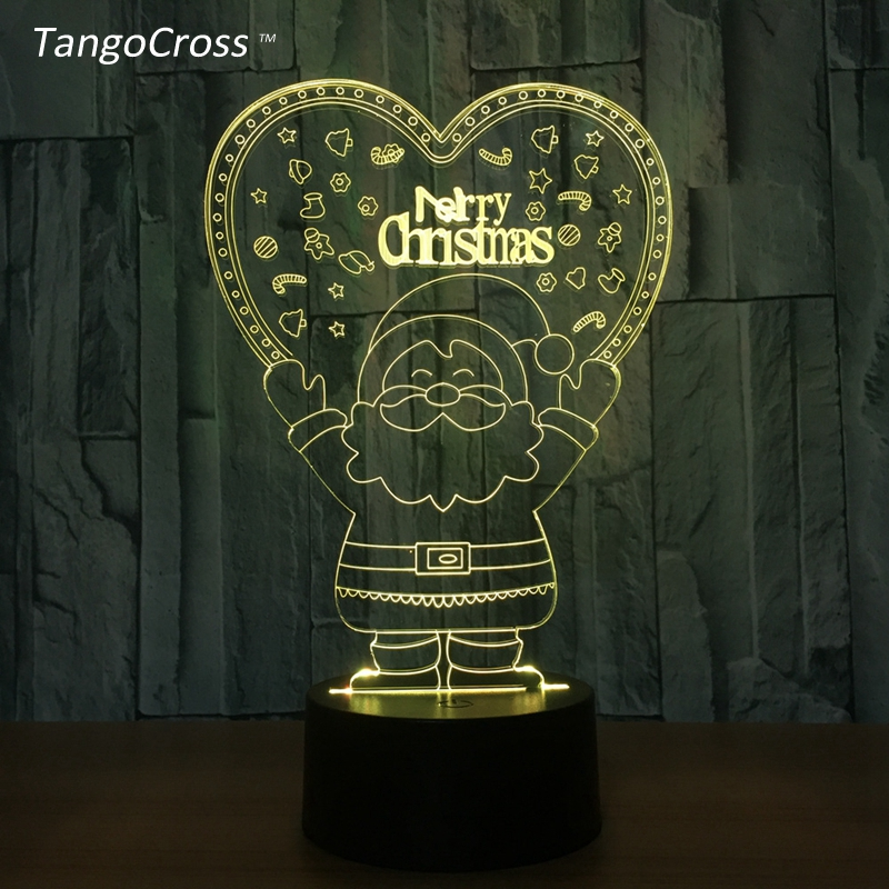 TangoCross Christmas 3D Acrylic LED Night Light Luminaria Table Lamp with Touch Control 7 Colors Decorations for Home