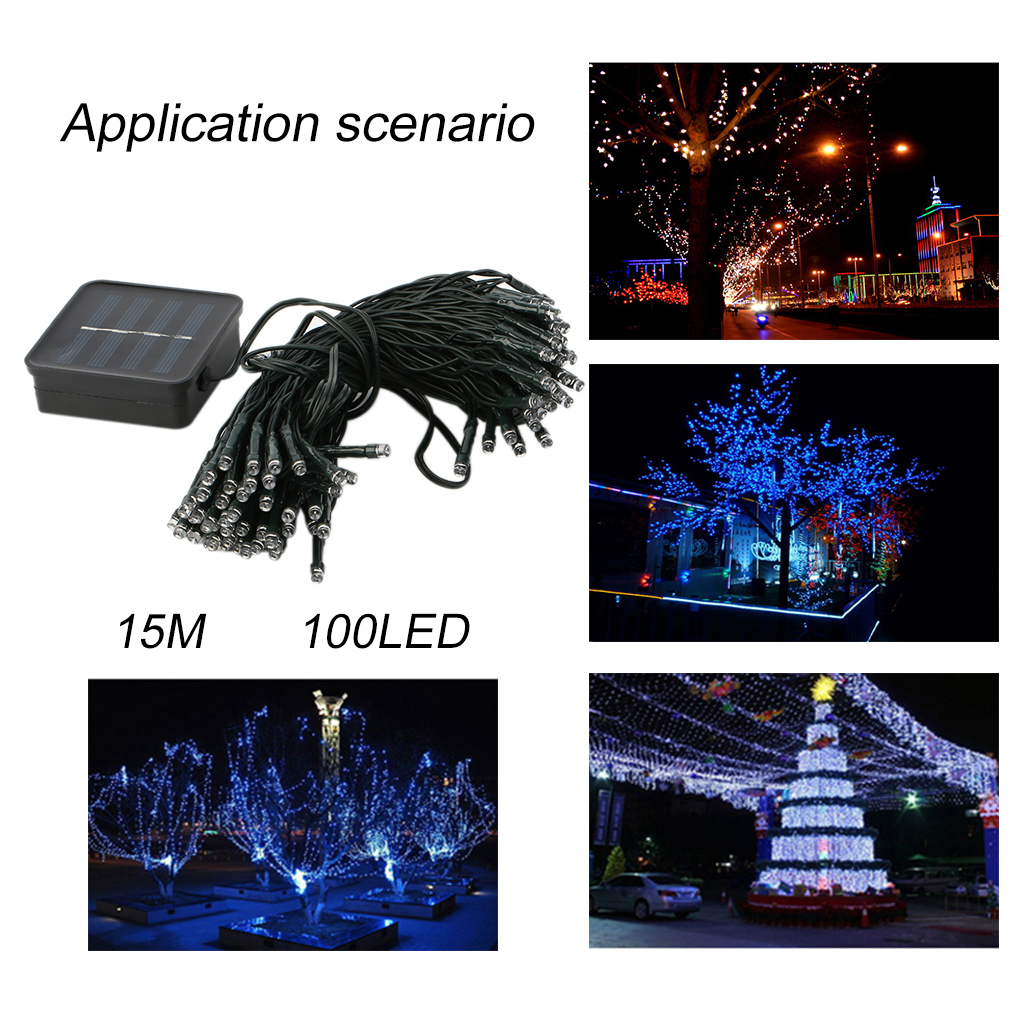 15M 100LED Solar Powered LED Strings Light Party Christmas Decorative Light