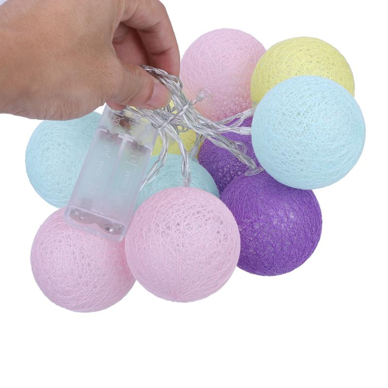 10 LEDs Cotton Ball String Lights Patio Wedding Party luminaria christmas natal garland Decor Fairy Lamp Battery Operated