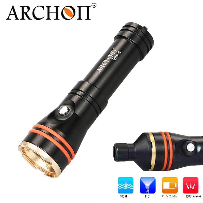 ARCHON Sea Diving Flashlight  D11V-II Photography Diving Light Video Flash light 100M Underwater Snorkeling Torch 1200 lumens