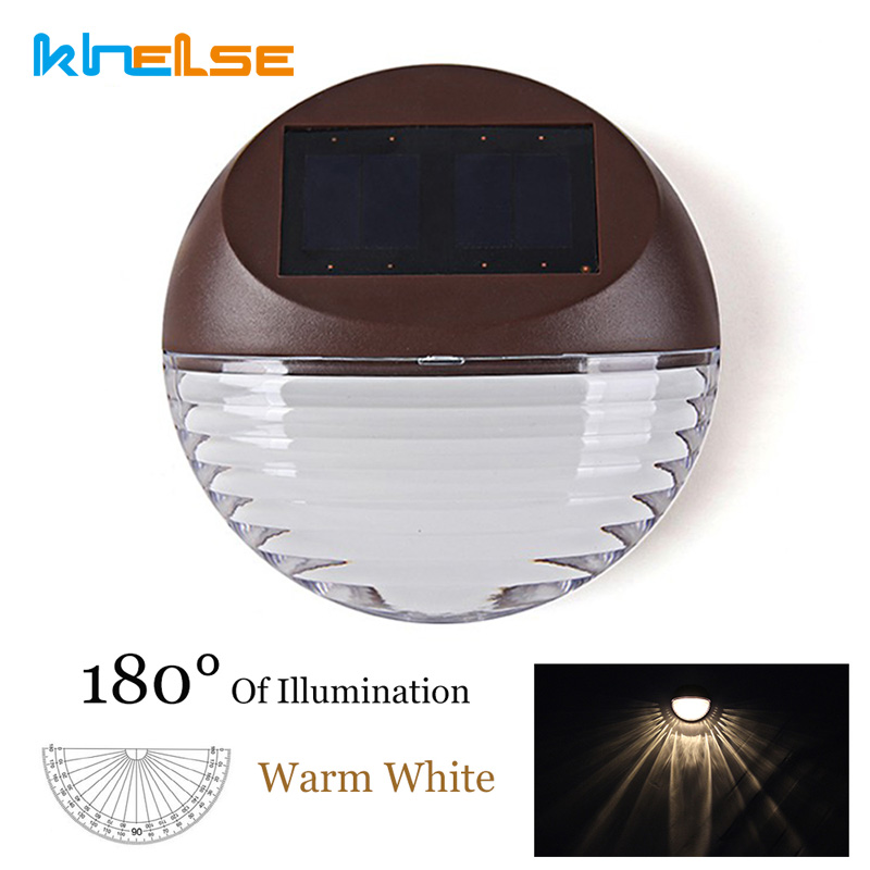 4pcs/lot LED Solar Light 2LED warm white Waterproof IP55 Outdoor Solar Fence Light Wall Mount LAMP Garden Pathway Wall Lamp