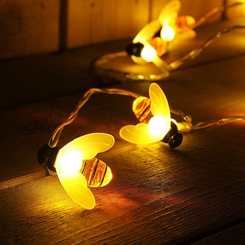 10/20 LED Battery Operated Bee Shaped String Lights Party Fairy Lights Decor Warm White PVC LED Wire Lights Fashion Style