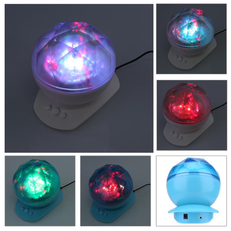 Portable Colorful Night Light Diamonds Ocean Projection Lamp With Speaker Ocean Wave Lights Projection Romantic Night Light
