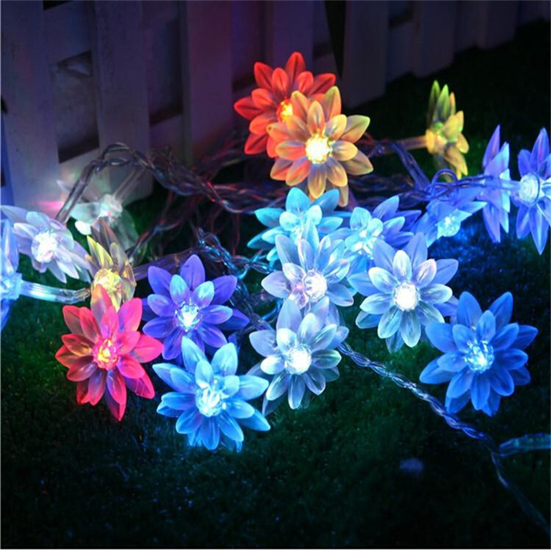Fairy 2.5M 20 Lotus Flowers Led Lighting Strings Garland Light Christmas New year Wedding Holiday Party Home Decoration Lamp