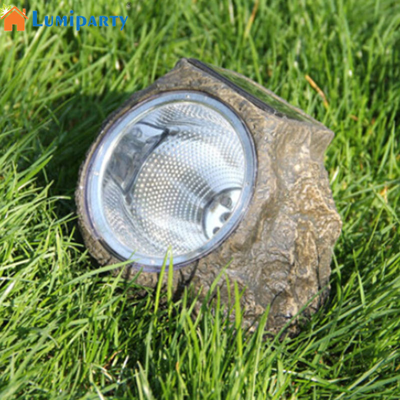 LumiParty 3LED Solar Powered Resin Stone Spot Light Outdoor Decorative Water Resistant LED Landscape Garden Lamp jk30