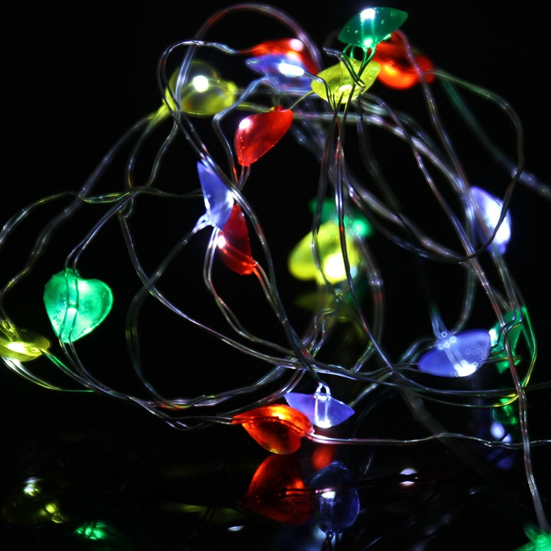 YAM 30 LED IP44 Waterproof Loving Heart Copper Wire Fairy String Lights Battery Operated Xmas Wedding Decoration 3m