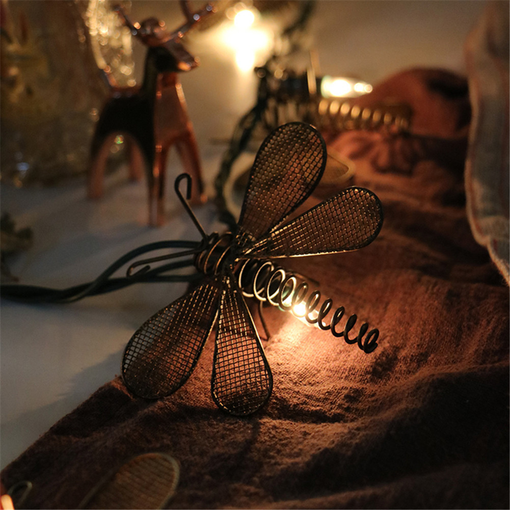 Christmas String Lights Fairy Retro Iron Strip Light Dragonfly Shaped Night Lamp Bedroom Garden Party Wedding Hanging Decoration