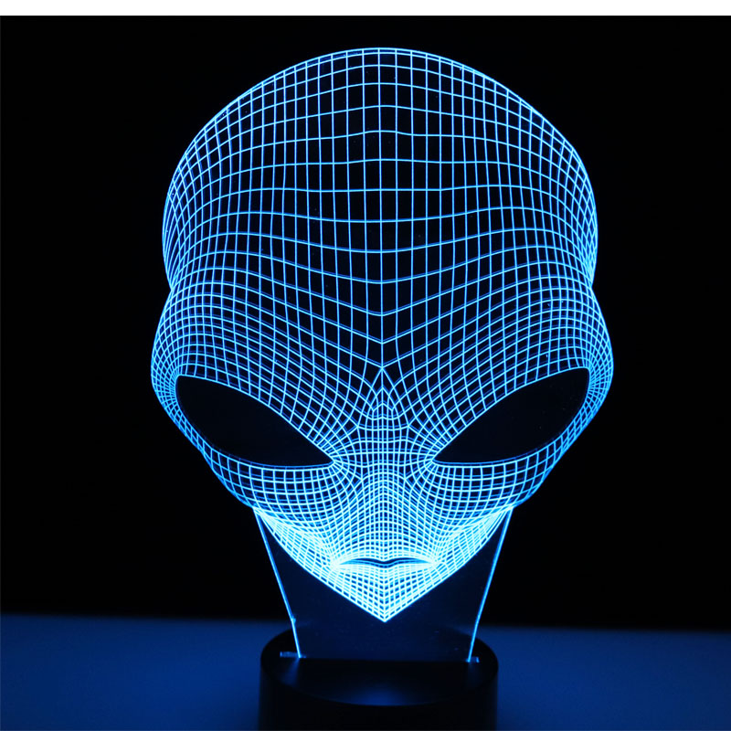3D LED Night Light Other Planets People Head with 7 Colors Light for Home Decoration Lamp Amazing Visualization Optical Illusio