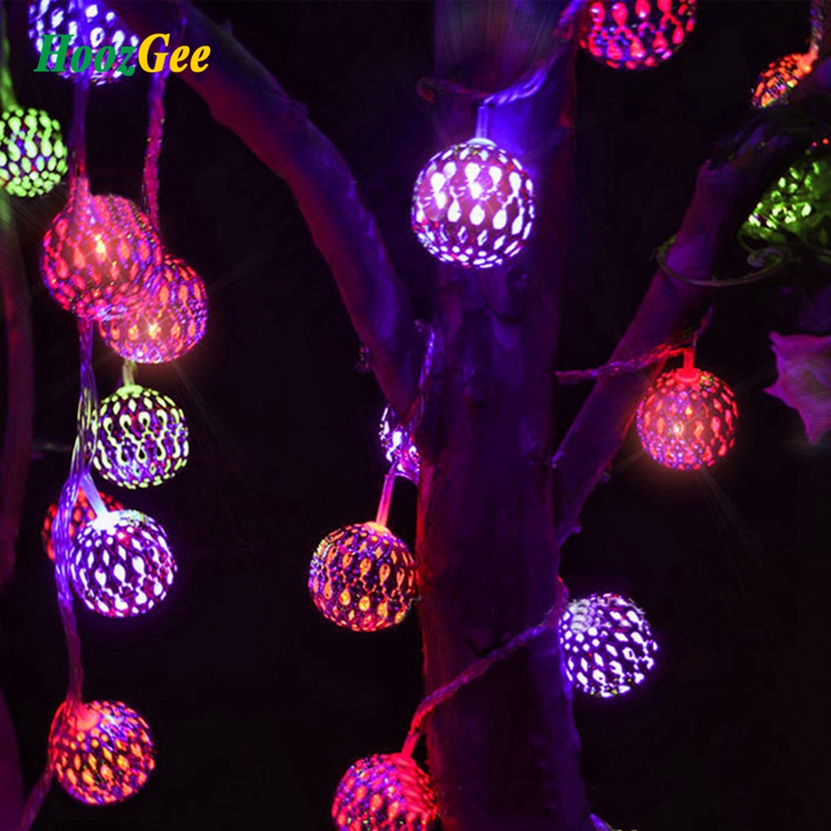 HoozGee Solar String Lights Outdoor 20 LED Moroccan Sliver Metal Ball Garden Patio Decor Dream Fairy Lamp Lighting