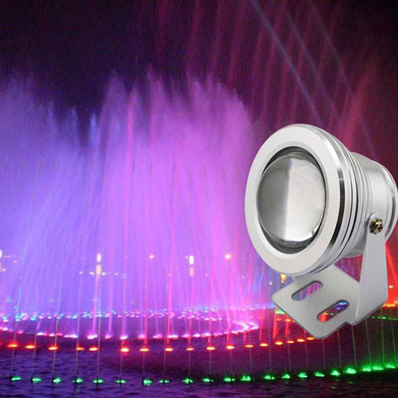BoomBoost 2PCS 7 Colors 10W 12V RGB LED Underwater Fountain Light 1000LM Swimming Pool Pond Fish Tank Aquarium LED Light Lamp IP67 Waterproof