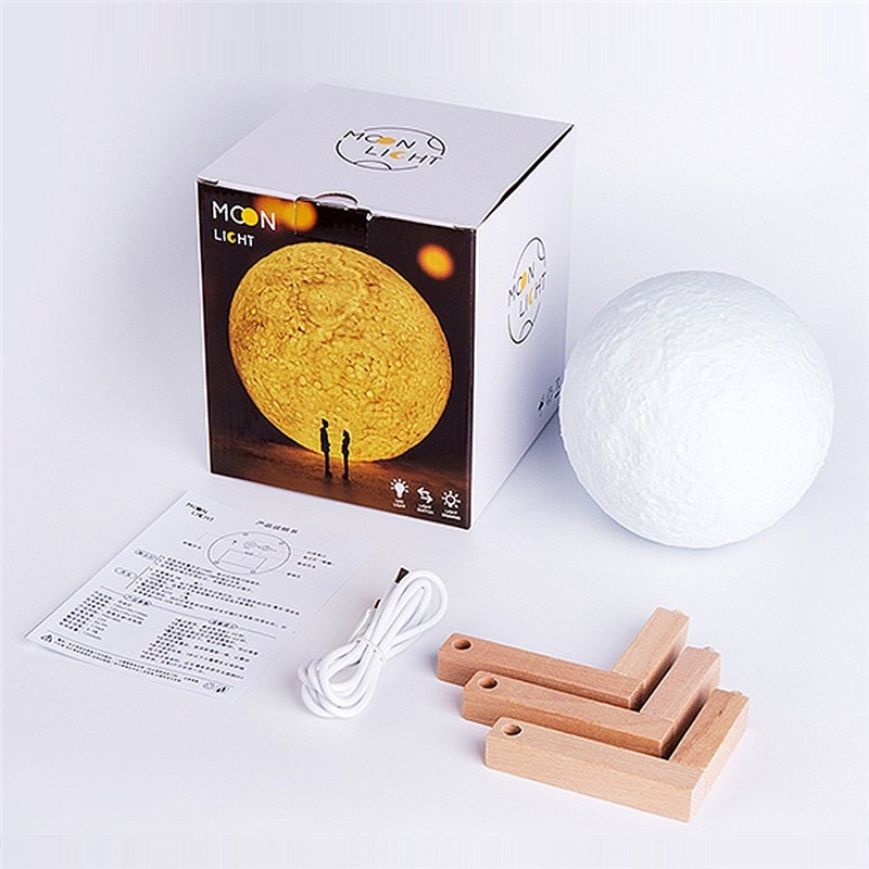 Night Light 3D Printing Moon Lamp 3 Colors Dimmable Touch Control Brightness with USB Charging Home Decorative Lights(4.7 inch)